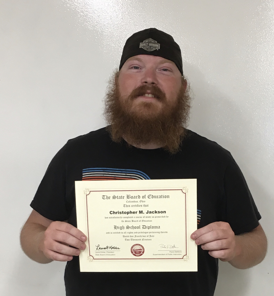 Mr. Christopher Jackson received his diploma by earning his AWS welding certification.