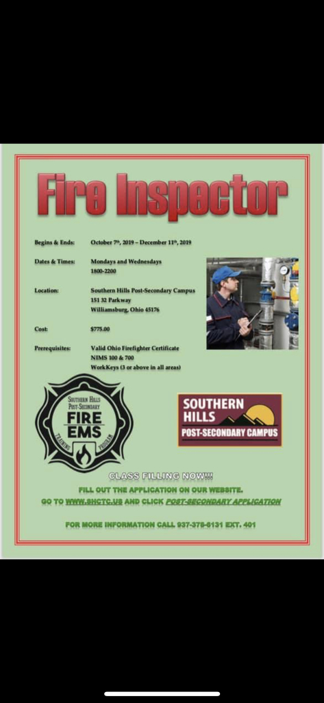 Call to Reserve Your Spot in the Fire Inspector Class!!