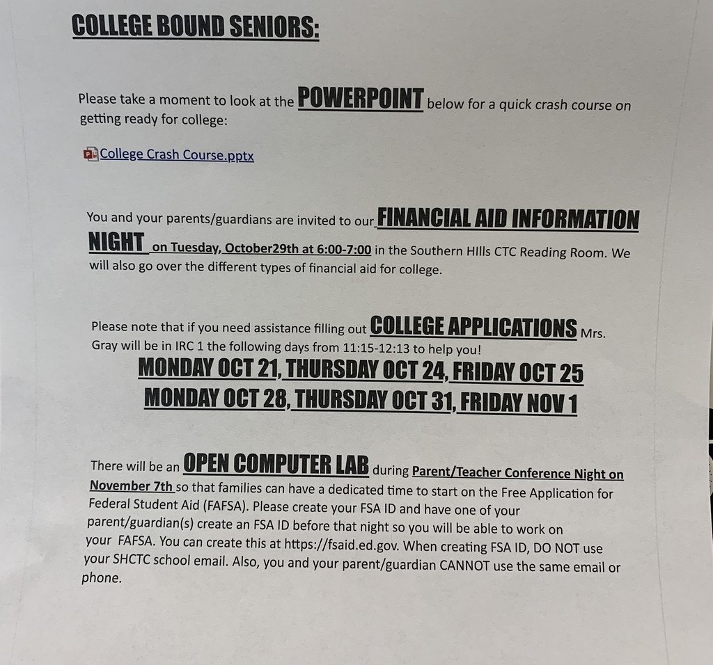 Events for college bound seniors