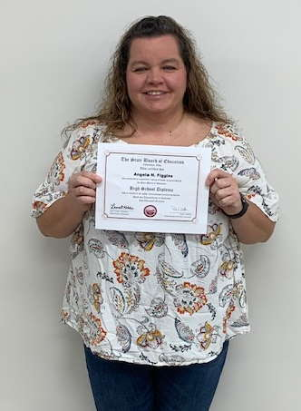 Congratulations Angela Figgins! Angela is a student at the Post-Secondary Campus.  She passed the STNA (State Tested Nursing Assistant) licensing exam and also earned her Diploma!!  Great job Angela!!