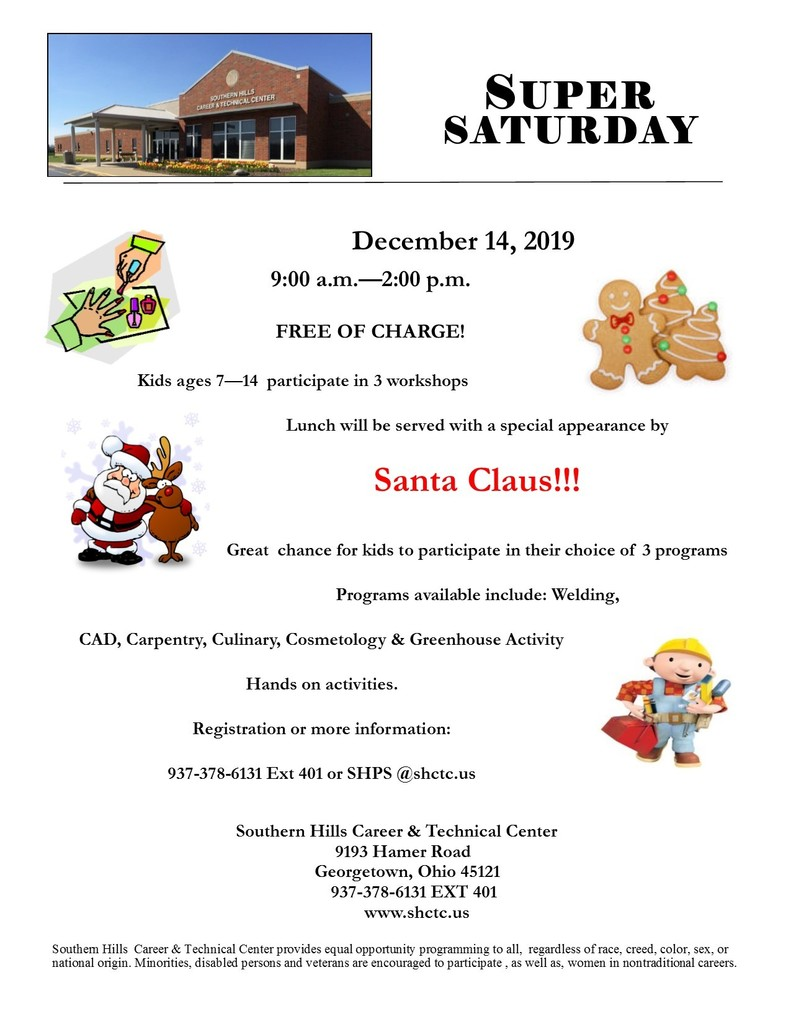 Super Saturday December 14th!   Fun Activities for kids age 7-14.  Call to register 937.378.6131 x401